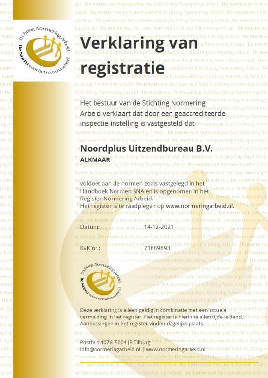 certificaat stichting normering arbeid Noordplus Uitzendbureau